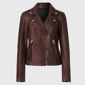 All Saints Dalby Leather Biker Jacket Size 0